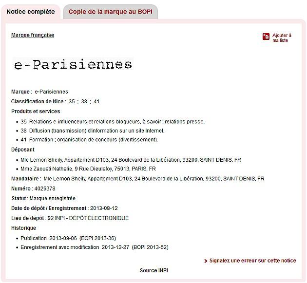 """Enregistrement de la marque """"e-parisiennes"""" par Nathalie Zaouati."""