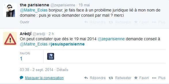 Un twittos retrouve un tweet de zeparisienne demande conseil à l'avocat Maître Eolas